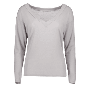 Casual Plunging Neck Loose Knitwear - GRAY XL