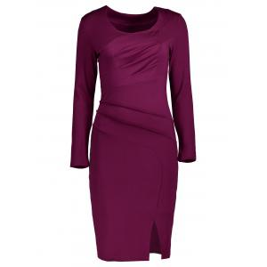 Pleated Side Slit Bodycon Dress - Merlot - S