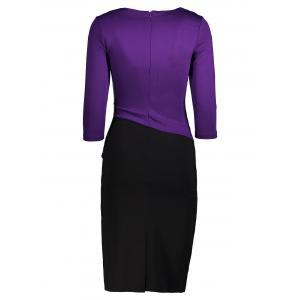 Two Tone Pleated Back Slit Pencil Dress - BLACK AND PURPLE L