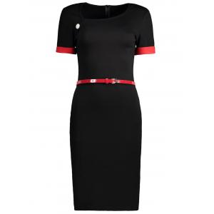 Two Tone Belted Fitted Work Dress
