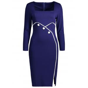 Buttoned Side Slit Bodycon Dress