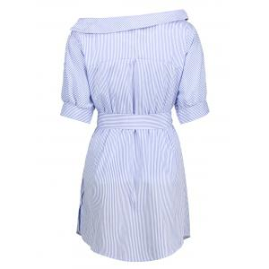 Asymmetric Neckline Belted Tunic Dress - BLUE/WHITE S