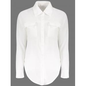 Loose Long Sleeeve Turn Down Collar Solid Color Women's Blouse
