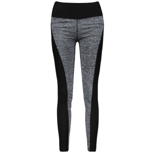 Color Block High Waisted Sporty Leggings - GRAY L