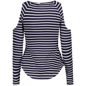 Stylish Scoop Neck Long Sleeve Hollow Out Striped Women's T-Shirt -