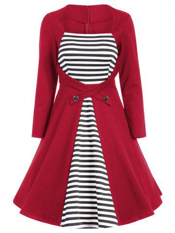 Shops Plus Size Square Collar Striped Skater Dress with Long Sleeves