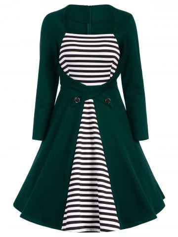 Store Plus Size Square Collar Striped Skater Dress with Long Sleeves