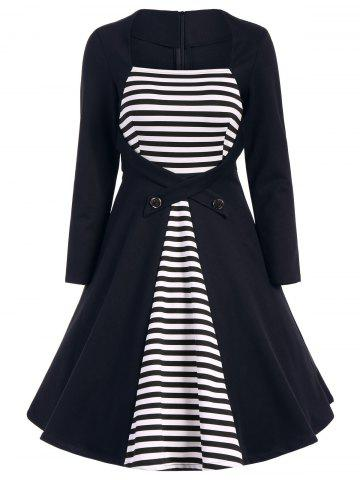 Discount Plus Size Square Collar Striped Skater Dress with Long Sleeves
