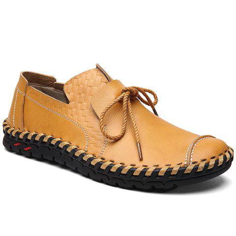 Textured Leather Whipstitch Casual Shoes - Yellow - 40