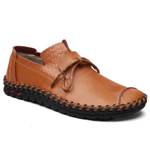 Textured Leather Whipstitch Casual Shoes - Brown - 44