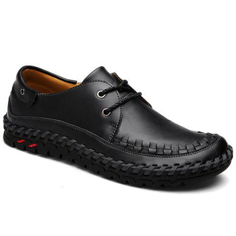 Leather Casual Shoes with Whipstitch Detail - Black - 44
