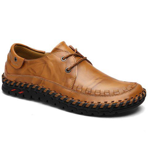 Leather Casual Shoes with Whipstitch Detail - Brown - 44