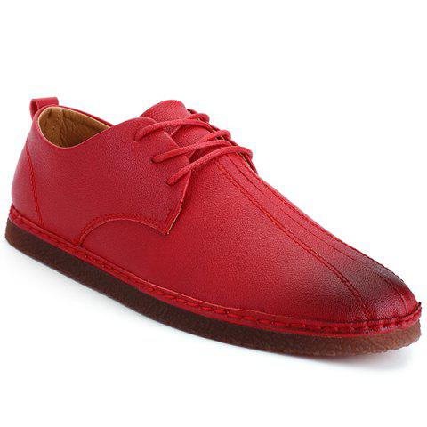 Store Faux Leather Round Toe Casual Shoes RED 40