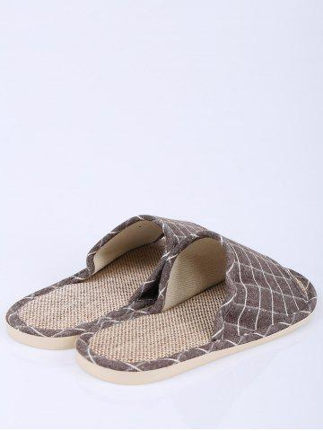 Trendy Checked Color Block House Slippers - SIZE(41-42) BROWN Mobile