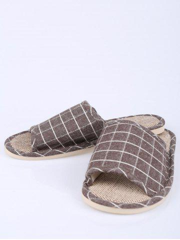 Shop Checked Color Block House Slippers - SIZE(41-42) BROWN Mobile