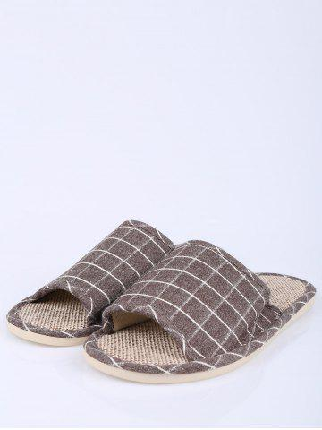 Trendy Checked Color Block House Slippers - SIZE(43-44) BROWN Mobile