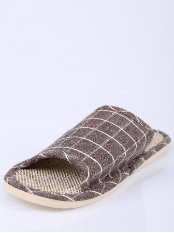 Online Checked Color Block House Slippers - SIZE(43-44) BROWN Mobile