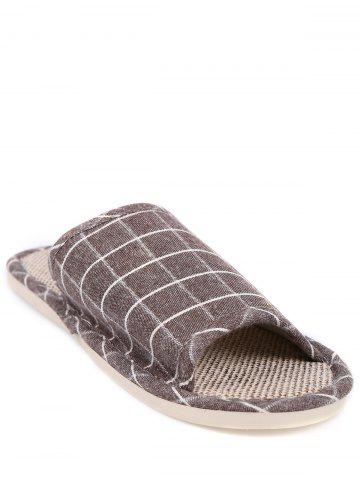 Fancy Checked Color Block House Slippers - SIZE(43-44) BROWN Mobile