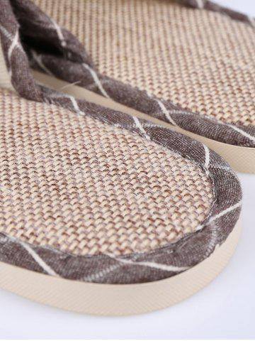 Affordable Checked Color Block House Slippers - SIZE(43-44) BROWN Mobile