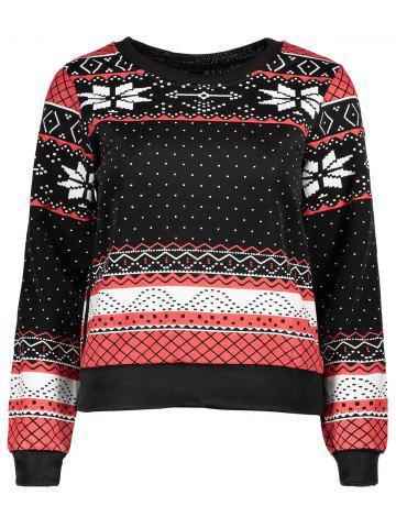 Online Stylish Round Collar Ethnic Snowflakes Print Thicken Long Sleeve Sweatshirt For Women