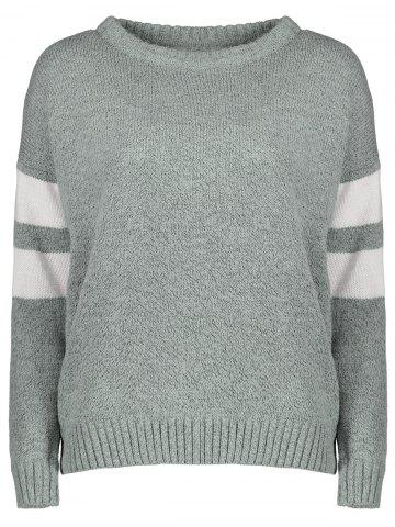 Affordable Casual Round Collar Color Block Long Sleeves Pullover Sweater For Women - ONE SIZE GRAY Mobile