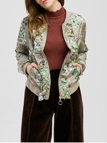 Cheap Ruffle-Trimmed Tiny Floral Jacket - XL LIGHT KHAKI Mobile