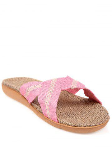Cheap Color Block Linen Slippers
