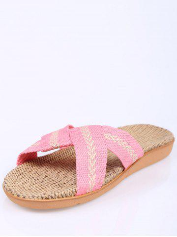 Store Color Block Linen Slippers - SIZE(37-38) PINK Mobile