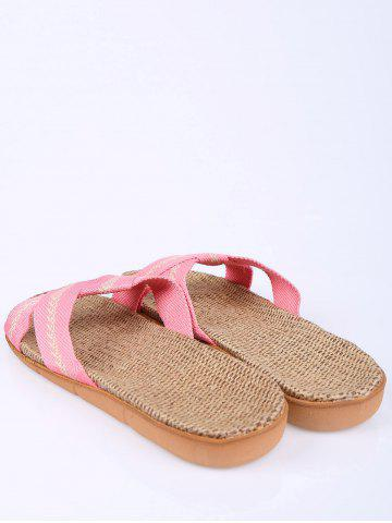 Chic Color Block Linen Slippers - SIZE(37-38) PINK Mobile