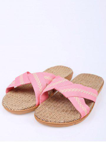 Outfit Color Block Linen Slippers - SIZE(37-38) PINK Mobile