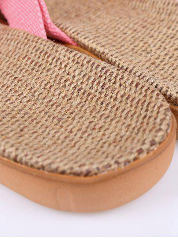 Best Color Block Linen Slippers - SIZE(37-38) PINK Mobile