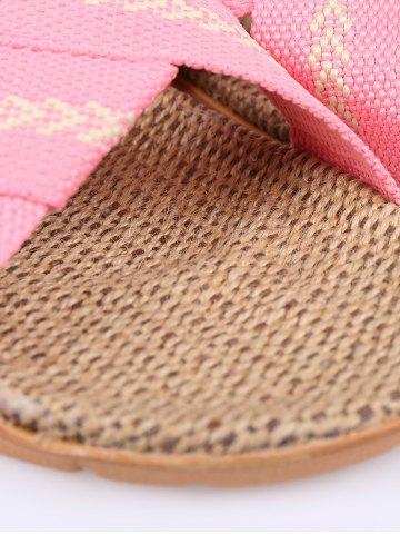 Buy Color Block Linen Slippers - SIZE(37-38) PINK Mobile