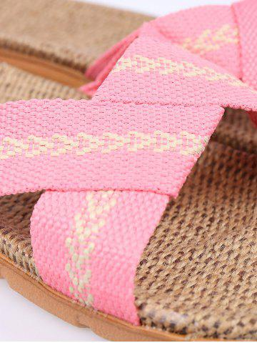 Best Color Block Linen Slippers - PINK SIZE(39-40) Mobile