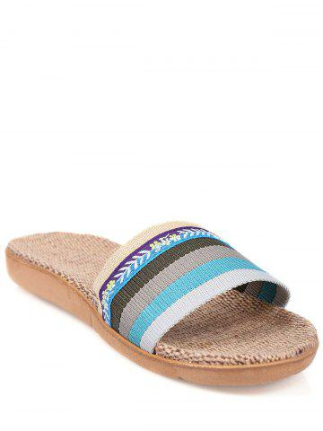 Store Striped Flowers Indoor Slippers - BLUE SIZE(39-40) Mobile