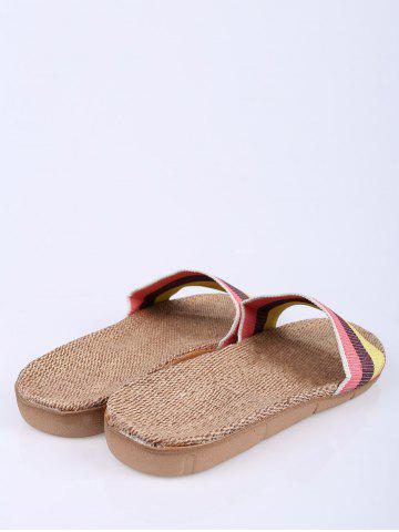 New Linen Colour Block Indoor Slippers - SIZE(39-40) PINK Mobile