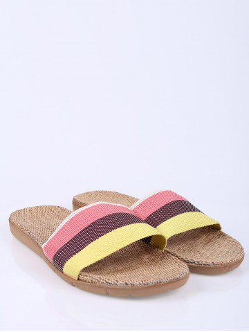 Sale Linen Colour Block Indoor Slippers - SIZE(39-40) PINK Mobile