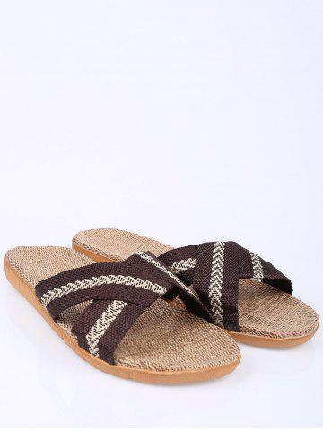 Fashion Linen Color Block Slippers - SIZE(44-45) COFFEE Mobile