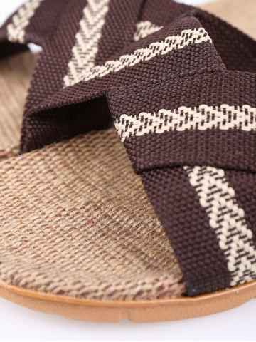 Discount Linen Color Block Slippers - SIZE(44-45) COFFEE Mobile