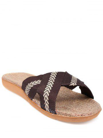 New Linen Color Block Slippers - SIZE(44-45) COFFEE Mobile