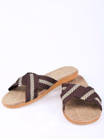 Outfit Linen Color Block Slippers - SIZE(44-45) COFFEE Mobile
