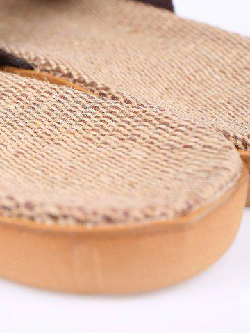 Buy Linen Color Block Slippers - SIZE(44-45) COFFEE Mobile