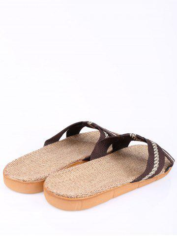 Shops Linen Color Block Slippers - SIZE(44-45) COFFEE Mobile