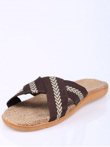 Chic Linen Color Block Slippers - SIZE(44-45) COFFEE Mobile
