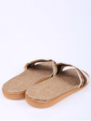 Outfit Striped Ombre House Slippers - SIZE(42-43) COFFEE Mobile