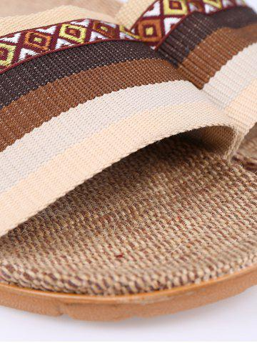 Discount Striped Ombre House Slippers - SIZE(42-43) COFFEE Mobile