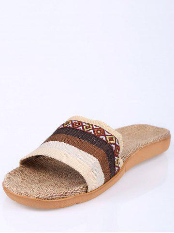 Chic Striped Ombre House Slippers - SIZE(42-43) COFFEE Mobile