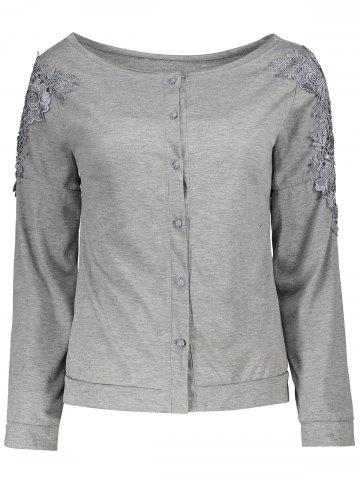 Long Sleeve Lace Embellished T-Shirt - Gray - L