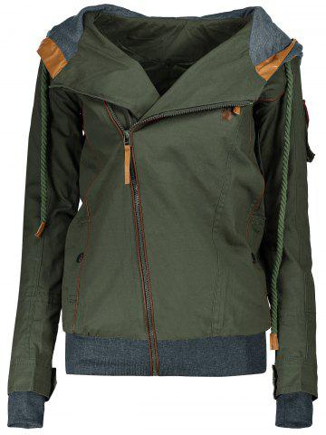 Active Hooded Skew Zippered Long Sleeve Thick Hoodie For Women - Army Green - S
