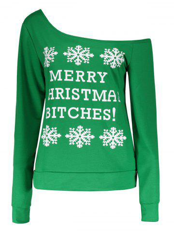 Shops Snowflake and Letter Print Christmas Green Sweatshirt
