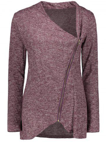 Asymmetrical Zippered Women's Sweatshirt - Dark Auburn - L